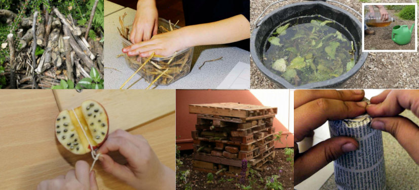 A montage of images showing different kids gardening activities